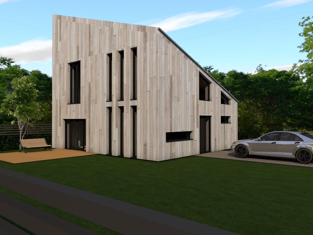 nowoczesny dom jednorodzinny z dachem jednospadowym