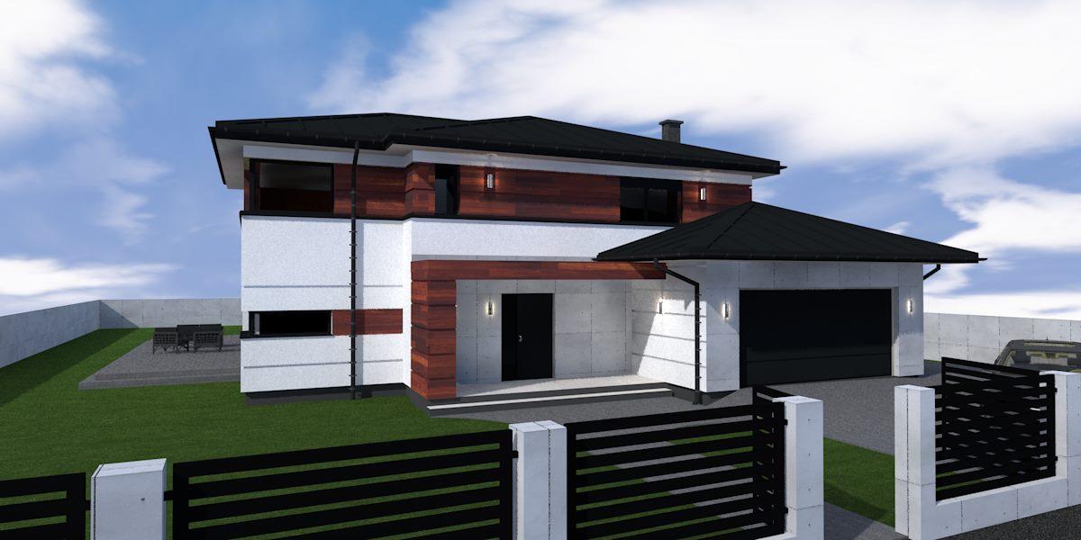 nowoczesny dom jednorodzinny z drewnem na elewacji